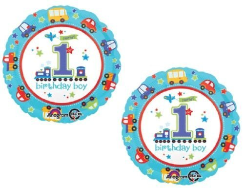 1st Birthday All Aboard Boy Cars, Truck and Train Party Mylar Balloons