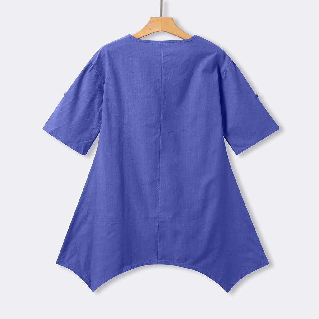 Brown, XXXL Bkkdd Ladies Summer Linen Dress,Women Summer Style Feminino Vestido O Neck Short Sleeve T-Shirt Dress Cotton Casual Plus Size Linen Dress