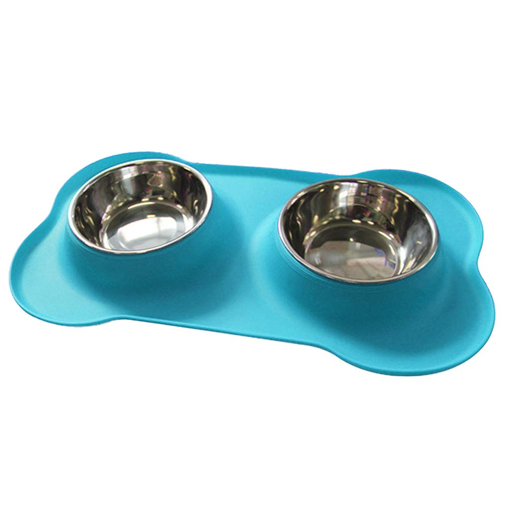 bluee Silicone Dog Bowl Bone Type Pet Bowl Stainless Steel Pet Double Bowl Pet Dog Bowl Food Bowl 46  27  15cm (color   bluee)