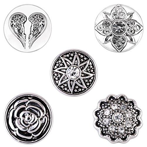 Morella ® pour petit click-button lot de 5 boutons pression pour bijou femme diamètre 12 mm ange en forme de cœur avec roses et du soleil