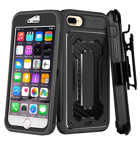 iPhone 8 Plus Case, E LV iPhone 7 Plus Case - Belt Clip/Kickstand - Dual Layer Rugged Armor Holster Defender Full Body Protective Case Cover for Apple iPhone 7 Plus/iPhone 8 Plus [Black/Black] ()