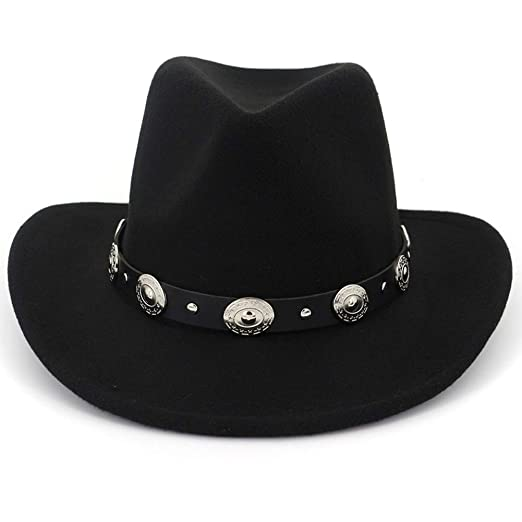 453c53d8224 Lisianthus Men   Women s Felt Wide Brim Western Cowboy Hat Black at ...
