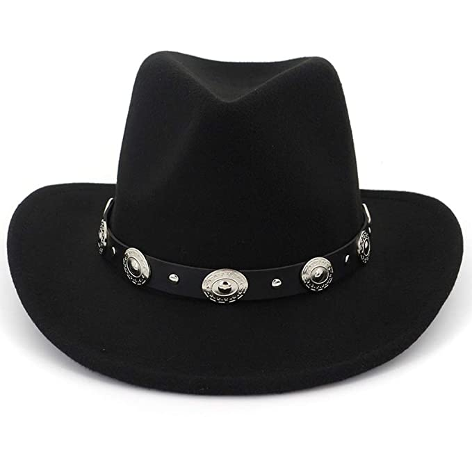 08175d26cfb Lisianthus Men   Women s Felt Wide Brim Western Cowboy Hat Black at ...