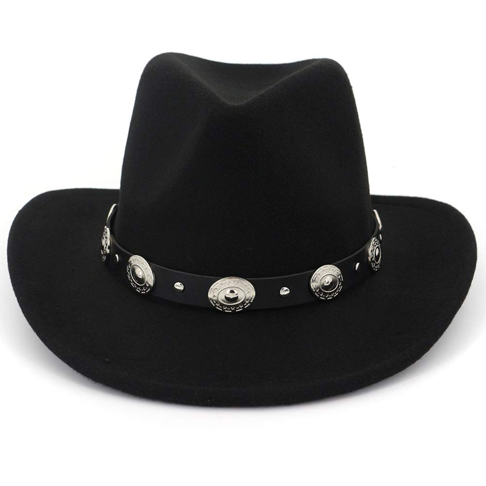 Lisianthus Men & Women's Felt Wide Brim Western Cowboy Hat Black