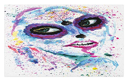 Ambesonne Ethnic Doormat, Grunge Halloween Lady with Sugar Skull Make Up Creepy Dead Face Gothic Woman Artsy, Decorative Polyester Floor Mat with Non-Skid Backing, 30 W X 18 L Inches, Purple Blue]()