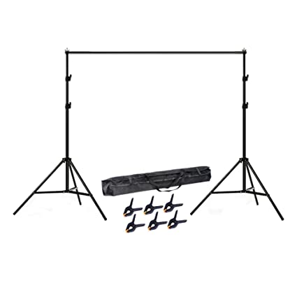 Lightdow 6 5x10' Adjustable Photo Studio Backdrop Stand Background Support  Kit with 6 Clamps (Model Number: LD-DP005)