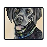 Black Golden Retriever Office Rectangle Non-Slip Rubber Mouse Pad Comfortable Gaming Mouse Pad for Laptop Displays Tablet Keyboard