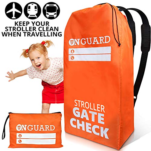 (OnGuard Double Stroller Bag with Storage Pouch Stroller Travel Bag Waterproof Rip Resistant Polyester Compact Foldable Gate Check Cover for Strollers Universal Baby Stroller Bag for Airplane)
