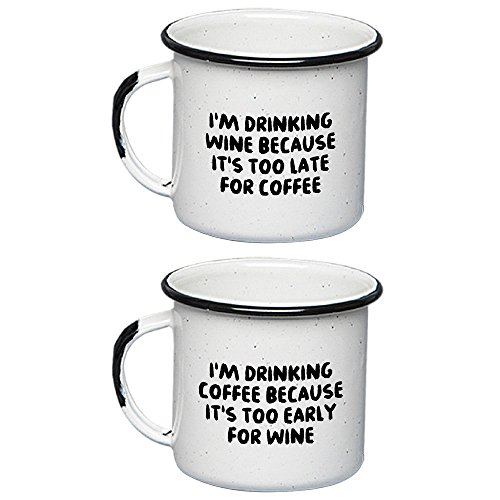 UNELEFANTE Set of 2 Enamel Mugs (12oz - 350ml), White Color, Too Early for Wine and Too Late for ()