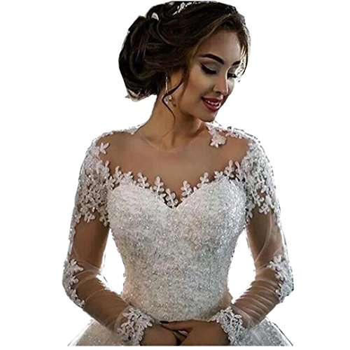 Chady Lace Princess Wedding Dress Ball Gowns 2018 Sexy Sheer Long Sleeves Boat Neck Sequins Beaded Wedding Bridal Gowns ()