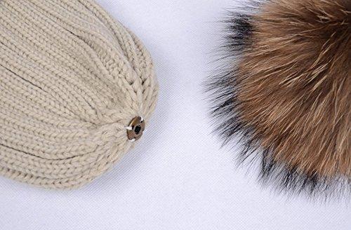 94ddbe080376a WaySoft Mother-Child Matching Genuine Fur Pom Pom Beanie – Pom Pom Hat with  Genuine