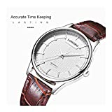Mens Dress Wrist Leather Watch Casual Brown Band Fashion Analog Quartz Wristwatch Simple Business Classic Waterproof Watches