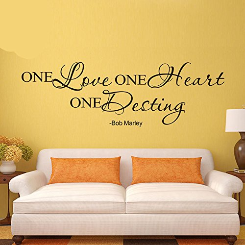 Wall Sticker Quotes Bob Marley One Love One Heart One Destiny for Living Room Bedroom Decoration Cafe Shop Wallpapers Home Decor Mural Home -