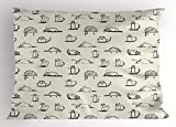 Lunarable Doodle Pillow Sham, Funny Cat Characters Sketch Art Style Friendly Playful Kitties Lazy Fluffy Animals, Decorative Standard Size Printed Pillowcase, 26 X 20 inches, Beige Black