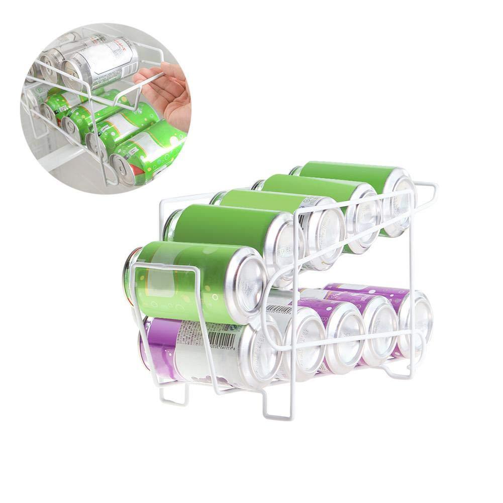 Beverage Can Dispenser Rack, 10-Can Soda & Beer Dispenser Beverage Dispenser Rack for Cabinet, Pantry, or Refrigerator Leiyini