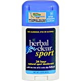 Herbal Clear 24 Hour Natural Sport Deodorant - Extra Strength - No Aluminum - 1.8 oz (Pack of 2)