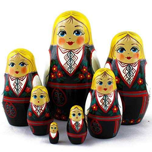 Wooden Nesting Dolls - Matryoshka Dolls Norwegian Folk Dress Set 7 pcs ()