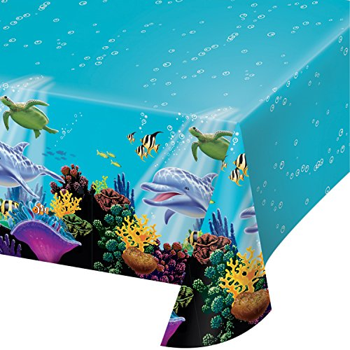 Creative Converting Ocean Party Plastic Table Cover, 54 by 108-Inch - 725325 (Fish Party Supplies)