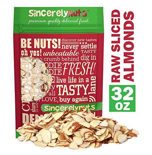 Sincerely Nuts - Raw Natural Sliced Almonds | 2 Lb. Bag | Delicious Guilt Free Snack | Low Calorie, Vegan, Gluten Free | Gourmet Kosher Food | Source of Fiber, Protein, Vitamins and Minerals