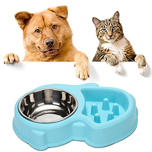 yoyoung Dog Bowl Set Slow Feeder and Stainless Steel Bowl for Feeding and Watering Interactive Bloat Stop Dog Bowl