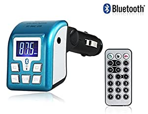 Vayne Reproductor de MP3 de la pantalla LCD del coche de Bluetooth con modulador de FM, lector de tarjetas, mando a distancia (azul)