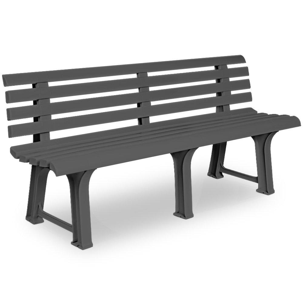 Garden Bench Outdoor 3 Seater Patio Terrace Furniture Grey Weatherproof Durable Seat Deuba