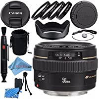 Canon EF 50mm f/1.4 USM Lens 2515A003 + 58mm Macro Close Up Kit + Lens Cleaning Kit + Lens Pouch + Lens Pen Cleaner + 58mm Tulip Lens Hood + Fibercloth Bundle