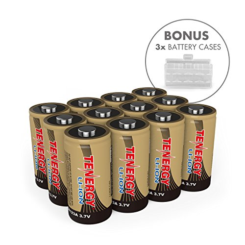 Arlo Certified: Tenergy 3.7V Li-ion Rechargeable Battery for Arlo Security Cameras (VMC3030/VMK3200/VMS3330/3430/3530) 650mAh RCR123A UL UN Certified 12 Pack, 3X Battery Cases