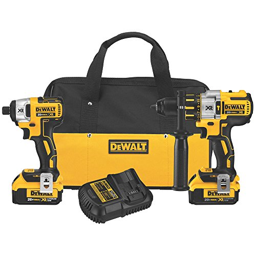 DEWALT DCK296M2 20V XR Lithium Ion Brushless Premium Hammerdrill and Impact Driver Combo Kit by DEWALT