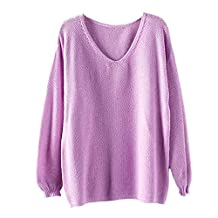 Kinghard Women's Hollow Out Long Sleeve Loose V Collar Sweater