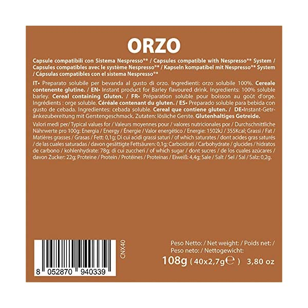 Note D'Espresso Preparato Solubile per Bevanda al Gusto di Orzo - 108 g (40 x 2.7 g) Esclusivamente Compatibili con le… 3 spesavip