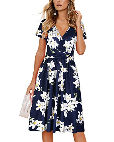 OUGES Women's Summer Short Sleeve V-Neck Floral Short Party Dress with Pockets 1