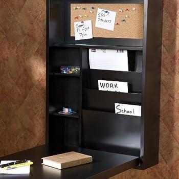 "Southern Enterprises Fold-Out Convertible Desk 22"" Wide, Black Finish"