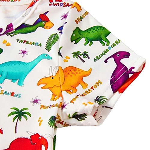 RAISEVERN Girls Summer Short Sleeve Dress Dinosaurs Printing Casual Dress Kids 8-9 Years by RAISEVERN (Image #3)'