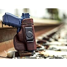 OUTBAGS USA LS2G19 Full Grain Heavy Leather IWB Conceal Carry Gun Holster for Glock 19 G19 9mm / Glock 23 G23 .40 / Glock 32 G32 .357 / Glock 38 G38 .45GAP. Handcrafted in USA.