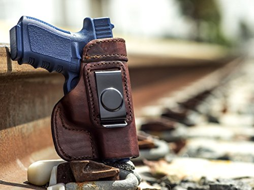 OUTBAGS USA LS2G19 (BROWN-RIGHT) Full Grain Heavy Leather IWB Conceal Carry Gun Holster for Glock 19 G19 9mm / Glock 23 G23 .40 / Glock 32 G32 .357 / Glock 38 G38 .45GAP. Handcrafted in USA.