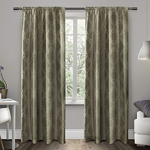 Exclusive Home Curtains Como Rod Pocket Window Curtain Panel Pair, Stone, - Drapes Pottery Embroidered Barn