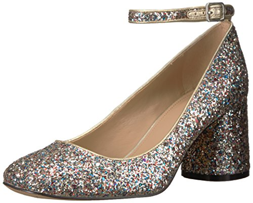 The Fix Women's Margot Block Heel Ankle Strap Pump, Gold Multi, 10 B - Gold Heels Multi