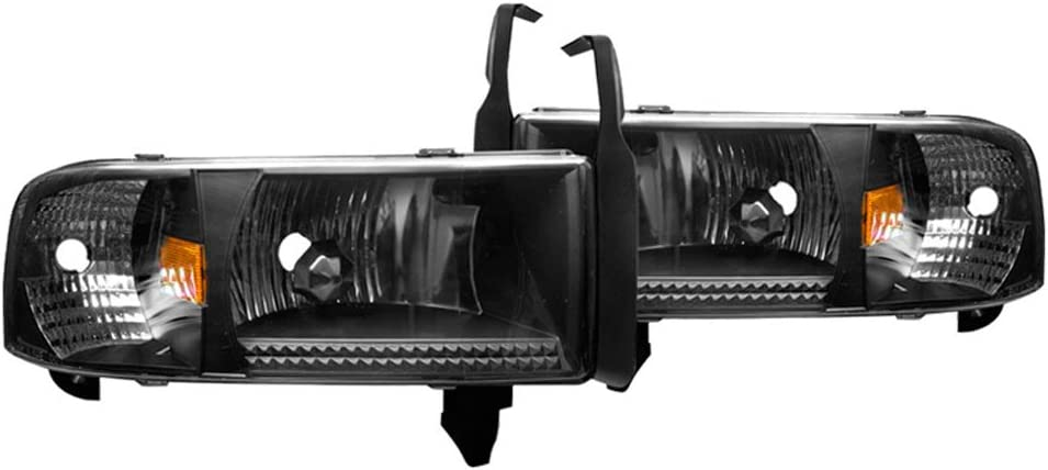 Black Clear Head Lamps Off Road Driving Light Winjet Headlights Compatible With 1994-2002 Dodge Ram 1500 2500 3500 1995 1996 1997 1998 1999 2000 2001
