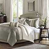 Madison Park Amherst Cal King Size-Khaki, Ivory, Stripes Duvet Set – 6 Piece – Ultra Soft Microfiber Light Weight Bed Comforter Covers, King King, Natural