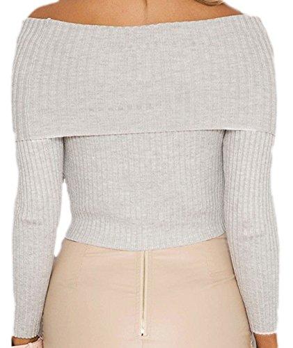 erdbeerloft - Camiseta de manga larga - Opaco - para mujer gris