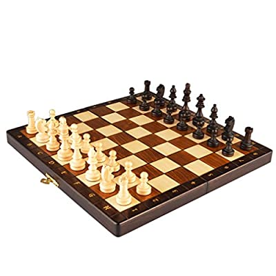 Magnetic Wooden Portable Chess Game Set - 11""