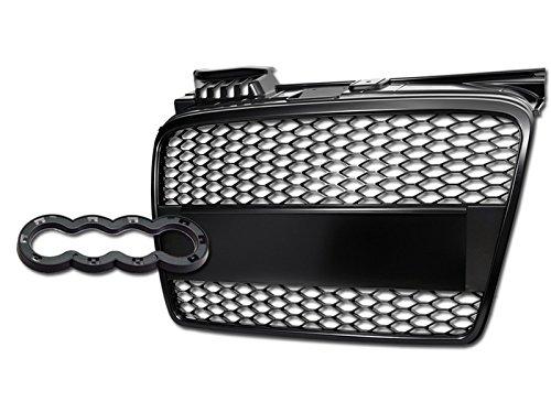 HS Power Matte Black Honeycomb Mesh Front Bumper Grill Grille+Emblem Base 05-08 Audi A4 B7 MPN: AU1200112
