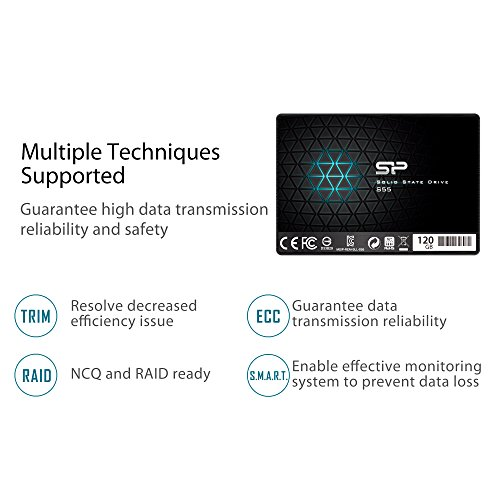 Silicon Power 120GB SSD S55 TLC (SLC Cache Performance Boost) SATA III 2.5'' 7mm (0.28'') Internal Solid State Drive- Free-download SSD Health Monitor Tool Included (SP120GBSS3S55S25AC) by Silicon Power (Image #6)