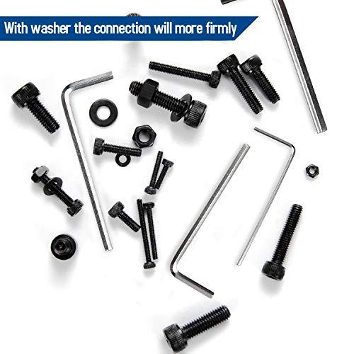NINDEJIN M2 M3 M4 M5 Alloy Steel Socket Head Cap Screws Nuts Set 1060pcs Carbon Steel Screws Assortment Kit