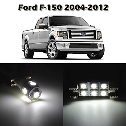 Partsam 10 White Interior LED Light Package Kit for Ford F-150 2004 2005 2006 2007 2008 2009 2010 2011 2012 with Tool Kit (White Led Interior Package compare prices)
