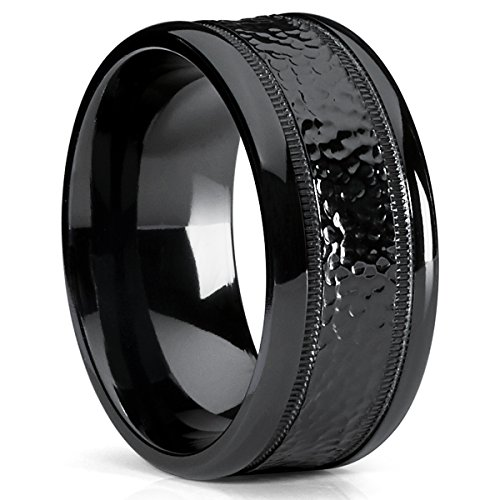 10MM Black Hammered Milgrain Wedding Band Wide Ring, Comfort Fit Size 10.5