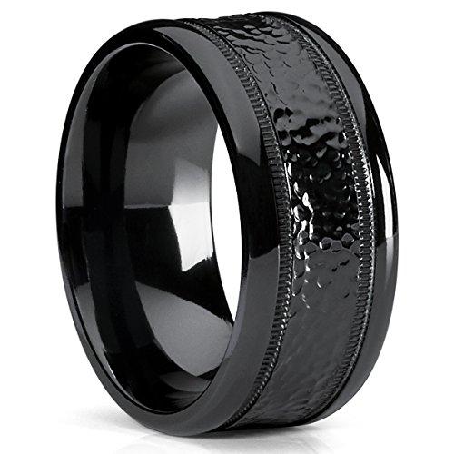 10MM Black Hammered Milgrain Wedding Band Wide Ring, Comfort Fit Size 9.5
