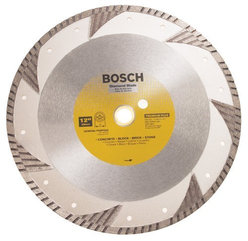 Bosch DB1263 Premium Plus 12-Inch Dry or Wet Cutting Turbo Continuous Rim Diamond Saw Blade with 1-Inch Arbor for Masonry (Plus Blade Dry Diamond)