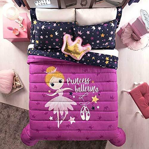 DreamPartyWorld Princess Ballerina Ballet Teens-Kids Girls Reversible Comforter Sheet Set Original Licensed 8PCS Full Size